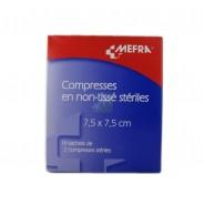 3M Méfra Compresses en Non-Tissé Stériles 7,5 cm x 7,5 cm x 10