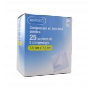 Alvita Compresses Non-Tissées Stériles 7,5 X 7,5 cm x 25