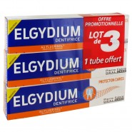 Elgydium Dentifrice Protection Caries 3 x 75 ml dont 1 OFFERT