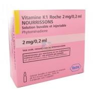 Vitamine K1 Roche 2mg/0,2ml Nourrissons x 5