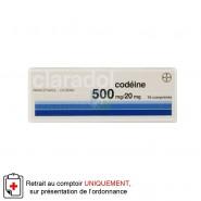 Claradol codéine 500mg/20mg x 16